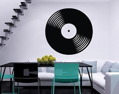 Check out our music bedroom selection for the very best in unique or custom, handmade pieces from our wall décor shops. Music Bedroom, Bedroom Decor, Stylish Interior, Recording Studio, Vinyl Wall Decals, Vinyl Records, Interior Decorating, Sticker, Walls