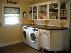 Reuse kitchen cabs in laundry - painted with no doors