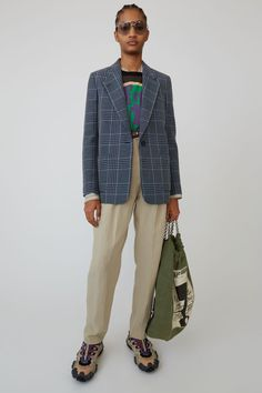 Acne Studios navy/navy plaid, half-lined blazer jacket. Casual Work Outfits, Work Casual, Outfits For Teens, Cool Outfits, Fashion Outfits, Fashion Hacks, Suit Jackets For Women, Suits For Women, Women Wear