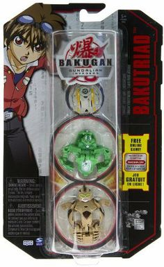 """BakuTriad: Bakugan Gundalian Invaders Series Bakugan Battle Brawlers - """" NOT Randomly Picked"""" (CUG3) by Spin Master. $20.99. Starter pack includes: 3 Bakugan, 3 ability cards, and 3 metal gate cards. Enter the online world of Bakugan Dimensions and unleash your Bakugan at www.bakugan.com. Play for free!. Brand new wave of Bakugan Battle Brawlers from the Bakugan: Gundalian Invaders series.. For age 5 and up. """"NOT"""" randomly picked, check out the product image as a refere..."""