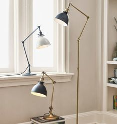 Grandview Floor Lamp Aged Brass with Oil-Rubbed Bronze Shade Antique Pine Furniture, Bronze Floor Lamp, Floor Lamps, Task Lamps, Light Shades, Oil Rubbed Bronze, Home Goods, Table Lamp, Ceiling Lights