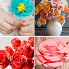 20 pretty DIY paper flower tutorials I love this list! There are some easy DIY paper flowers and others that are more difficult. I'll stick to easy for now, but that paper rose is gorgeous. How To Make Paper Flowers, Paper Flowers Diy, Paper Roses, Flower Crafts, Diy Paper, Paper Crafts, Craft Flowers, Flower Diy, Flower Making