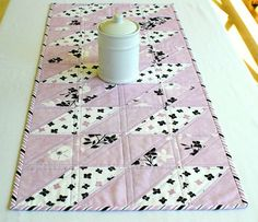 Quilted Table Runner Lavender Black White Table Quilt