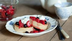BBC - Food - Recipes : Toasted crumpets and warm spiced berries with yoghurt and honey