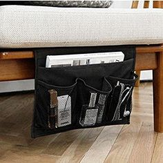 Amazon.com: HAKACC Bedside Caddy / Bedside Storage Organizer,Under Couch Table Mattress,Book Remote Glasses Caddy,Black: Home & Kitchen