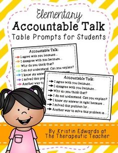 ** UPDATED April 2015 **These Accountable Talk desk cards have been a BEST SELLER for two years. Choose the black & white or color version, print, laminate, and tape to students desks for reminders of what language students should be using in the classroom.