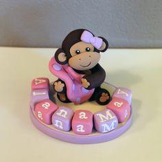 Monkey Custom Cake Topper for Birthday or Baby Shower by carlyace