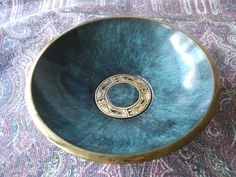 Vintage Brass Bowl Verdigris Enamel Birds Fish Israel by lookonmytreasures on Etsy