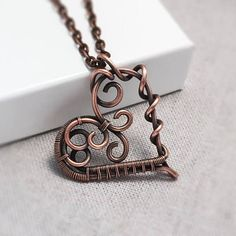 Copper Heart Necklace Wire Wrapped Heart Pendant 7th