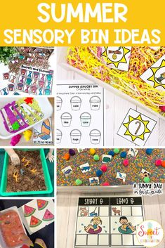 These summer sensory bins and activities are perfect for preschool, kindergarten, or first grade students! There are almost 10 sensory bin ideas and learning activities for little ones included here. Click the pin to see them all and choose which ones are perfect for your learners!