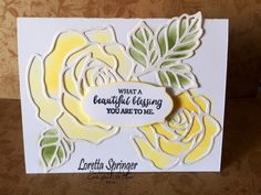 handmade card: RoseGarden ... new rose die cuts from Stampin' Up! ... luv the stained glass line look ..