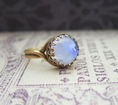 Moonstone Ring Opal Ring Blue White Translucent Exotic Gemstone Ring Modern Jewelry BFFs Best Friends Ring Friendship Mother Girlfriend Gift