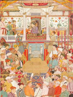 Shah Jahan holding court, as depicted by Bichitra Mughal Miniature Paintings, Mughal Paintings, Indian Paintings, Indian Illustration, Persian Pattern, India Art, Islamic Art Calligraphy, Medieval Art, Folk Art