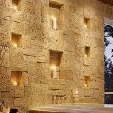 Artistic Solid Stone Wall Treatment for Modern Bathroom with Candle Decoration Ideas - Artistic Wall Treatment Decor Ideas