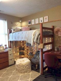 College room ideas college dorm room ideas college room decor university of knoll freshman dorm room college dorm room decorations college dorm room themes College Loft Beds, Lofted Dorm Beds, Bunk Beds, College Room Decor, College Dorm Rooms, Dorms Decor, Girl College Dorms, College Hoops, College Dorm Decorations