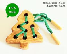 Lacing Toy Little Fir-tree Wood toy by WoodenCaterpillar on Etsy