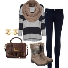 Grey/Black stripe sweater. Black skinnies, Tan sweater knit circle scarf, Tan studded boots, Brown messenger bag, Gold earrings