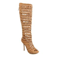 "Caged peep toe gladiator woven boot with island platform.  Back zipper closure.  Measurements: heel 4 3/4"", platform 1/4"", shaft 19"" and circumference 14"".  This style is available exclusively @ Nine West Stores & ninewest.com."
