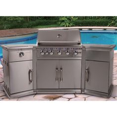 Large Gas Barbecue Stainless Steel Burners Storage Cover Cupboard LED Panel Hood