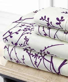 Another great find on #zulily! Ivory & Purple Foliage Hotel 5th™ Microfiber Sheet Set #zulilyfinds