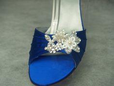 Brides Something BLUE Wedding Shoes 1 3/4'' heel lace