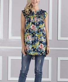 Navy & Pink Floral Lace-Back Swing Tunic - Plus Too