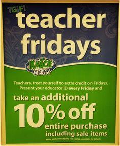 Michaels Teacher Discount = Extra 10% off on Fridays!