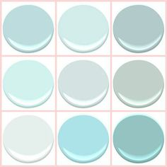 "BENJAMIN MOORE - ""THE BEACH BLUES "": BIRDS EGG, CLEAR SKIES, GOSSAMER BLUE, ICEY MOON DROPS, OCEAN AIR, PALLADIAN BLUE, SEAFOAM, SERENITY, TRANQUIL BLUE. House of Turquoise Guest Blogger"