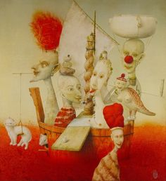 """Ship of Fools"" Janda Zdenek Tarot, Joker Clown, Surreal Artwork, Dns, The Fool, Anonymous, Surrealism, Public, Concept"