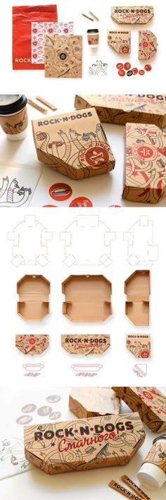 ROCK'N'DOGS - Takeaway Food Packaging (Student Project) by Karina Pasechka