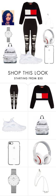 """""""Back to school look"""" by malachiaewarrenwifeyjunnewarre on Polyvore featuring River Island, Hilfiger Collection, NIKE, Beats by Dr. Dre and Daniel Wellington"""