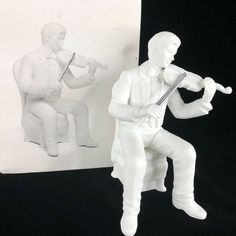 Dept 56 Winter Silhouette Christmas Concerto Violinist White Porcelain Figurine #Department56
