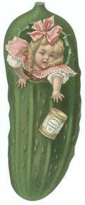 Die Cut Trade Card Antique Heinz Pickle Girl ~ Ephemera