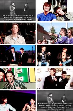 "[gifset] ""Jared has grown up the most. He was 22 when he started the show. Now he's in his 30s, he's got two children, he's married, he's just a different person. It's been cool to be a part of that and sit and watch him become a man. I like to think I helped him along the way with advice and stuff, but I'm very proud of the man he's become."" - #JensenAckles  #JaredPadalecki"