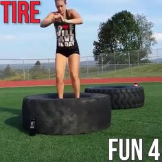 I love using different objects for workouts especially outside. One of my favorite items to train with are tires they are so versatile and fun and you can do endless workouts and exercise with a tire or tires. Tire Flipping Workout, Tire Workout, Boot Camp Workout, Zumba Workout Videos, Best Workout Videos, Fit Board Workouts, Fun Workouts, At Home Workouts, Outdoor Gym
