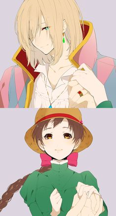 Howl's Moving Castle - Howl and Sophie - http://shoujo-addict.tumblr.com/post/132344057706/ハウル-ソフィー