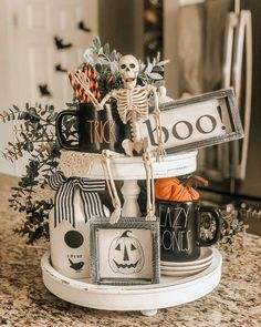 There is a new tiered tray in town and she comes in chippy white, rustic brown and black! Isn't she gorgeous? My sweet friend Britney… Farmhouse Halloween, Halloween House, Holidays Halloween, Halloween Treats, Halloween Diy, Happy Halloween, Halloween Decorations, Halloween Baking, Halloween Queen