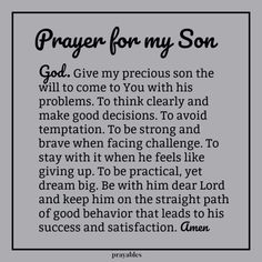 Prayer: For My Son – Prayables