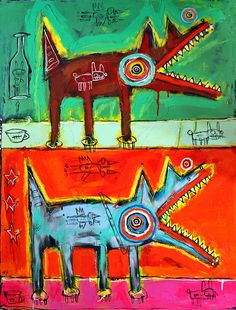 Matt Sesow Two Dogs | Recent Matt Sesow painting. See the latest and purchase directly at ...