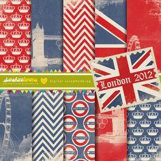 London 2012 Digital Scrapbooking Paper Set by SunshineLemons, $4.95