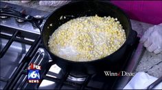 Irondale Cafe's southern fried corn  6 ears sweet white corn such as Silver Queen or Silver King     1 cup milk  2-3 slices fatback  Salt  Black Pepper  Sugar  Remove husk, silk, stem and wash corn.  Cut the corn off of the cob with a sharp knife. Cut a second time and scrape remaining kernel and juices into a bowl. Fry fatback until crisp and remove from heat. Add corn and milk to skillet with drippings. Cook over medium heat until thick and creamy. Add salt, pepper, and sugar