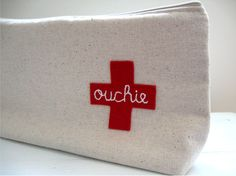 Ouchie Pouch. First Aid Kit Bag. Get Well Gift. Oversized Zip Pouch. Made to Order.