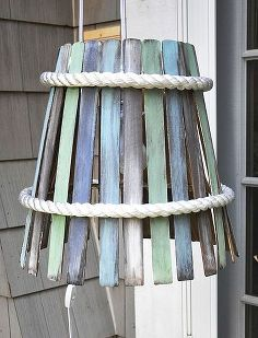 hanging lamp made from paint stirs, crafts, lighting, painting, patio