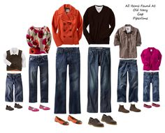 What to wear in a family photo, color schemes for portrait clothing, photography, family portraits Family Portrait Outfits, Fall Family Portraits, Family Picture Outfits, Family Photos What To Wear, Fall Family Pictures, Family Pics, Fall Photos, Autumn Pictures, Christmas Pictures