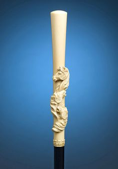 A triad of noble horses is elegantly carved into the ivory handle of this luxurious walking stick Wooden Walking Sticks, Walking Sticks And Canes, Walking Canes, Just Keep Walking, Walking Staff, Cane Sword, Stick Horses, Cannes, Cane Handles
