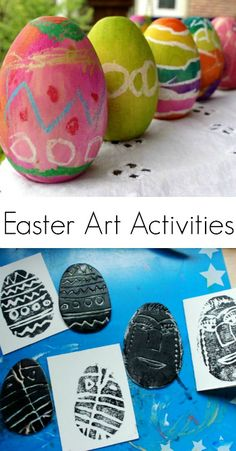 Two great Easter art activities that are easy and quick! Painted wooden eggs and styrofoam printed Easter eggs... So pretty!