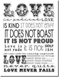 Valentine Love - Subway Art - I Corinthians 13 - Free printable My Funny Valentine, Valentines Day Love Quotes, Valentine Day Special, Valentine Verses, Valentine Ideas, Valentine Decorations, Valentine Crafts, Valentine Party, Valentine Poster