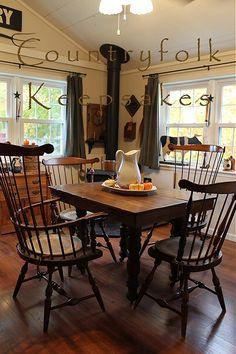 primitive homes daily crossword Primitive Dining Rooms, Country Dining Rooms, Primitive Homes, Primitive Kitchen, Country Kitchen, Country Homes, Primitive Decor, Primitive Country, Country Sampler