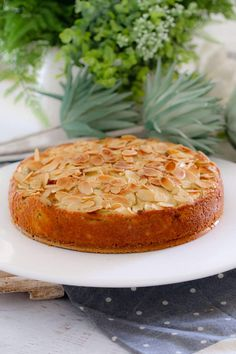 If you re looking for an easy apple cake recipe look no further This one is a classic butter cake layered with apple slices and topped with flaked almonds YUM Moist Apple Cake, Easy Apple Cake, Apple Cake Recipes, Easy Cake Recipes, Sweet Recipes, Baking Recipes, Dessert Recipes, Apple Tea Cake, Apple Pie