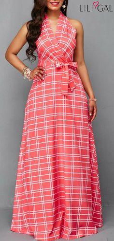 Sleeveless Belted Plaid Print Wrap Dress #liligal #dresses #womenswear #womensfashion
